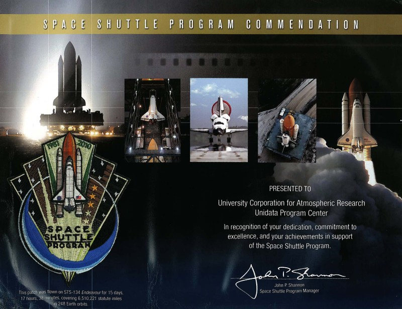 Shuttle program certificate