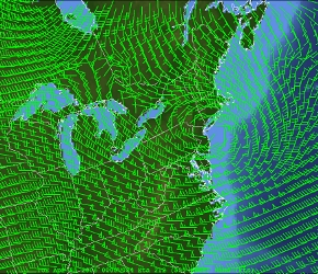 GEMPAK wind display of North American Mesoscale model data